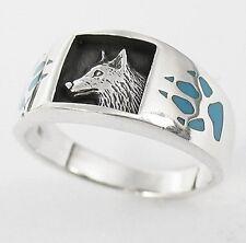 Indianerschmuck Wolf Ring Wolfsring Echt Silber mit Türkis Indianer Schmuck neu