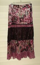 Tracy Evans~Multi Paisley Maxi Skirt~Large~Brown/Green/Burgundy/Mauve~N/W/O/T
