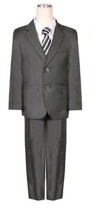 Boys formal suit easter Outfit Fancy Charcoal Dark Grey Chambray pattern necktie