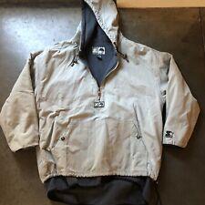 Men's Vintage Starter Rugged Terrain Gray Black Fleece Lined Hooded Jacket Sz XL
