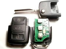 3 BUTTON FLIP REMOTE KEY FOB, VW TOURAN, CADDY, GOLF 5, TIGUAN, BEETLE, 434Mhz