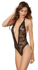 Dreamgirl Black Lace Teddy with Heart Cut-Out Detail Female Lingerie