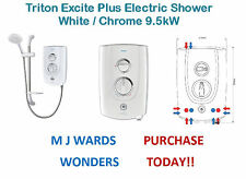 Triton Excite Plus Electric Shower White / Chrome 9.5kW ** PURCHASE TODAY **