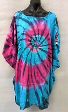 Colourful Long Tie Dye Blue/Pink Loose Fitting Tunic/ Top Size 12-14-16-18