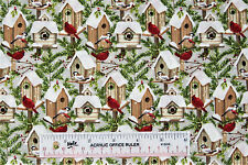 Christmas Holiday Winter Cardinals Birds in Houses Cotton Fabric  BTY  (A) <