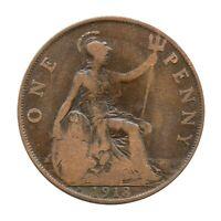 KM# 810 - One Penny - Freeman 183 (2+B) - George V - Great Britain 1918H (Fair)