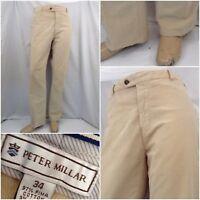 Peter Millar Pants 34x30 Beige Corduroy Flat Front Cotton Lycra EUC YGI W8-125