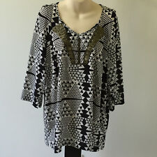 'MARCO POLO' BNWT SIZE '16' BLACK & WHITE 3/4 SLEEVE TOP WITH BRONZE BEADING