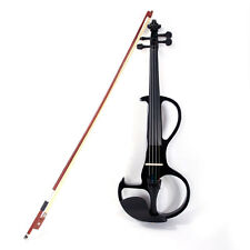 High Quality 4/4 Electric Violin Kit + Rosin + Bow + Case+ Earphone Black Color