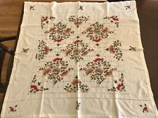 Antique Vintage Hand Embroidered Square Tablecloth, Never Used, Pristine!