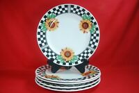 "Tabletops Unlimited SUNNY Sunflower Dinner Plates (5) 10-1/2"""