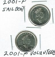 2001-P X 2 Canadian Uncirculated Sail boat and Volunteers 10 Cent Coins