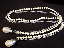 Long necklace 35 inch long faux pearl and stainless rope teardrop pearl ends