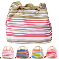 Portable Stripe Insulated Cool Bag Lunch Box Travel Picnic For Thermal Food BE