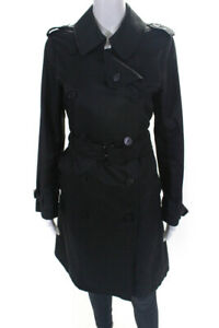 Burberry London Womens Long Sleeve Double Breasted Trench Coat Black Size Medium