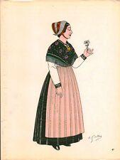 Gravure d'Emile Gallois costume des provinces françaises 1950  Savoie, Maurienne