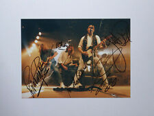 STATUS QUO original mounted photo hand signed by all 5 members 11 x 8 inches