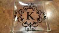 "Set of 4 ""K"" Monogram Initial sq glass appetizer plates 6""x 6"" w/black designs"