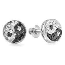0.25 Carat (ctw) 10k White Gold Black & White Round Diamond Yin Yang Ladies Stud