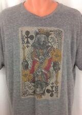 Lucky Brand Tee Shirt Graphic King Bear Card Men's XL Gray Short Sleeve ~ EUC