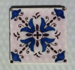 """Antike Fliese - sog. Delfter Kachel """"Ornament mit Blumen"""""""