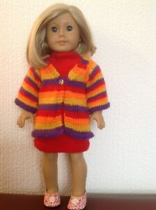"""Dolls clothes knitting pattern.18"""" doll. Coat of many colours + dress. KNM83"""