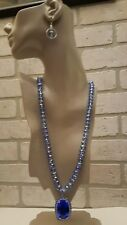 Pendant/ Blue Ab Faceted Beaded Necklace Big Blue Violet Color Cz Gemstone