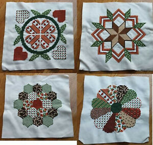 Finished Counted Cross Stitch Blocks.  Dresden Kaleidoscope Flower PA Dutch Hex