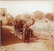 Nazareth Scène de rue Israël Plaque de verre stereo Vintage
