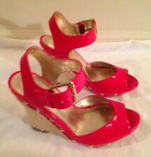 GUESS, Red Open Toe Wedge Shoes w/Gold Studs, Size 5.5 - NEVER WORN