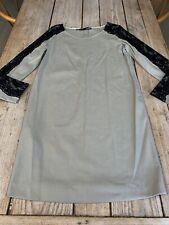 Stunning LOVE MOSCHINO Natural Beige & Black Lace Shift DRESS, Size 14
