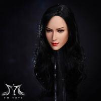 1/6 Beauty Female Head Sculpt squint Ver. Black Long Hair Phicen Head Sculpt Toy