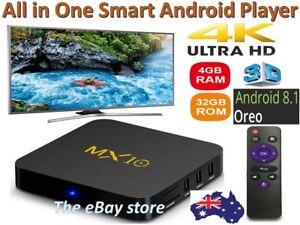 MX10 PRO Android 9.0 TV Box 4GB 64GB Quad Core 6K 2.4G WiFi USB 3D Media Player