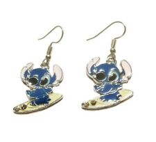 """Lilo and Stitch """"Stitch"""" Surfing Enamel Metal French Wire Earrings"""