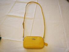 Coach PCC Crossbody Pouch 53034 SV/Y3 Canary yellow leather CC logo womens ^^