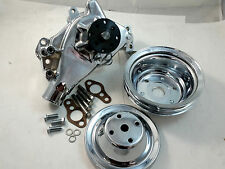 SB Chevy SBC Polished Aluminum HV Long Water Pump & Pulley Kit LWP 283 327 350