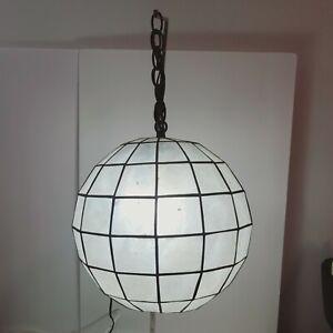 "15"" CAPIZ SHELL Globe Lamp Hanging Light Fixture Metal Chain Cord Orig Plug"