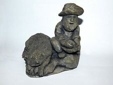 Nice Prospector statue panning Gold nugget with his dog pan dredge sluice picker