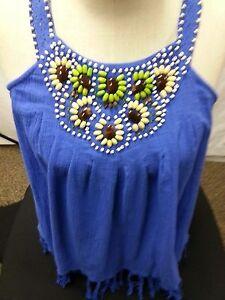 NWT ECI NY Tank Top Shirt Blue/Purple Wood Beads Fringe Summer Beach 8  S/M