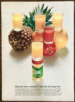 1964 Tang Instant Breakfast Drink PRINT AD Orange Tomato Pineapple Grapefruit