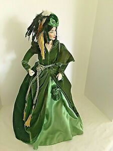 "Gone With Wind Scarlett O'Hara 22"" Porcelain Doll Franklin Mint MIOB Civil War"