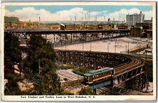New Viaduct and Trolley Loop to West Hoboken, NJ Vintage Postcard S03