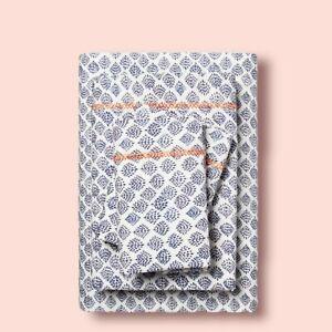Opalhouse Cotton Twin/Twin XL Sheet Set Embroider White Blue Scallop Beach Shell
