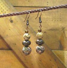 Beaded Leopardskin Jasper Earrings, Dangle, Gemstone, Handcrafted, item #86