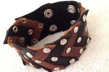 "Black & brown chevron studded leather bracelet wristband 1.50"" wide   LB0248"