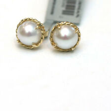DAVID YURMAN New Chatelaine 18K Gold and 8mm Pearl Stud Earrings