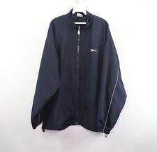 Vintage 90s Reebok Mens 3XL Spell Out Lined Full Zip Windbreaker Jacket Blue