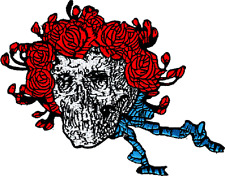 89021 Grateful Dead Skull Rose Wreath Hippie 60s Embroidered Sew Iron On Patch