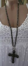 Neu Schöne XL Damen Halskette Kreuz Perlen Grau-Anthrazit Kette Hippie Ibiza