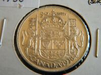 1938 Canada Silver 50 Cent Piece-Lower Mintage-VF-EF Cond.-20-292
